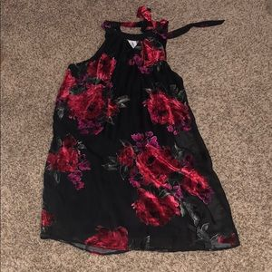 Little black dress with red roses by Lily Rose.